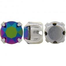 Chaton Silver Crystal Scarabaeus Green